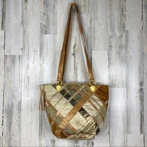 Sharif vintage tan and gold mixed media bucket bag